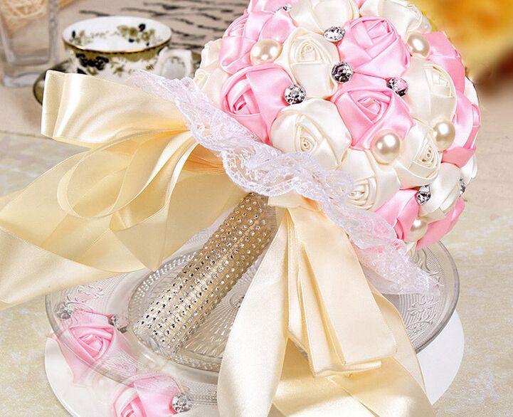 Оптом - Новое Прибытие 2015 свадебный букет розовый и слоновой кости, бусы жемчуг розовой форме ленты, искусственные кружева украшения Свадебные цветы