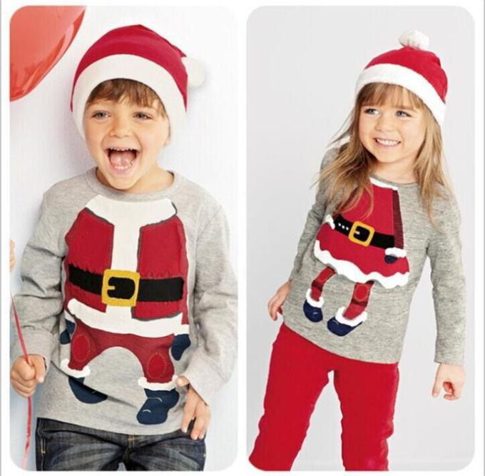 2015 Christmas Kids T Shirt Fall Winter Boys Girls Long Sleeve ...