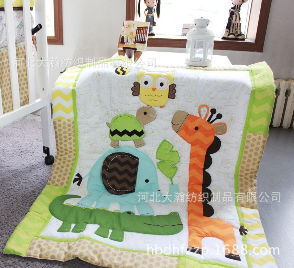 Full size childrens bedding sets - 3d Cartoon Animal Embroidered Baby Bedding 7 Item Quilt Bumper Sheet Skirt Mattress Cover Diaper Bag Window Curtain Blanket Full Size Childrens Bedding