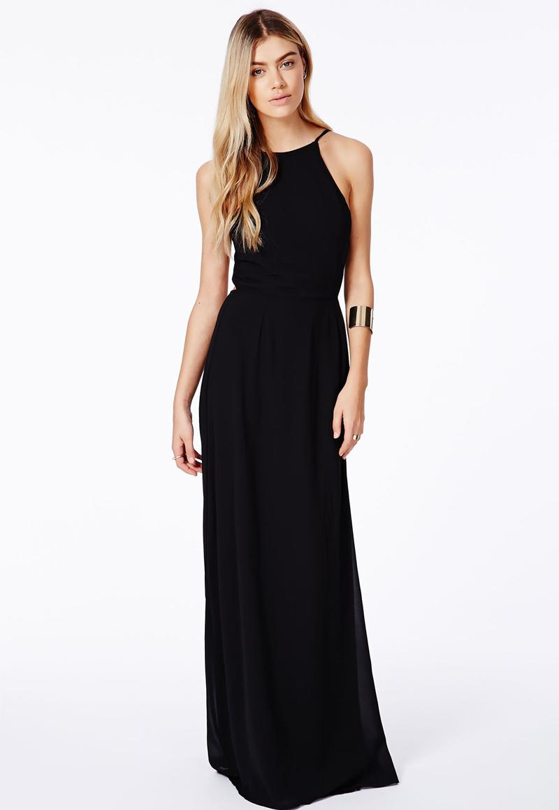 Cheap Black Maxi Dress Long Floor Length Backless Chiffon Party ...