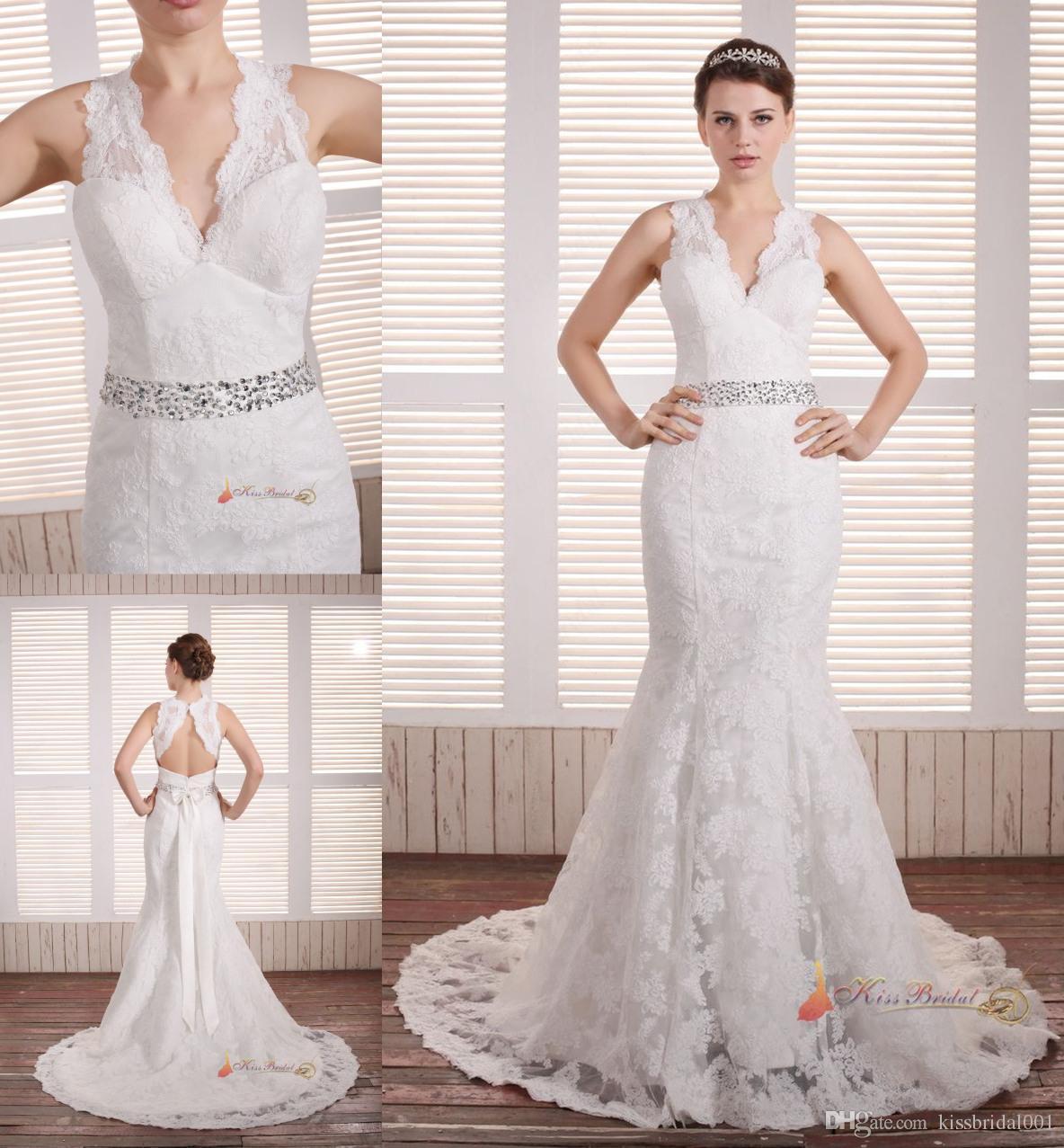 Elegant 2015 Designer Wedding Dresses With Beaded Sash