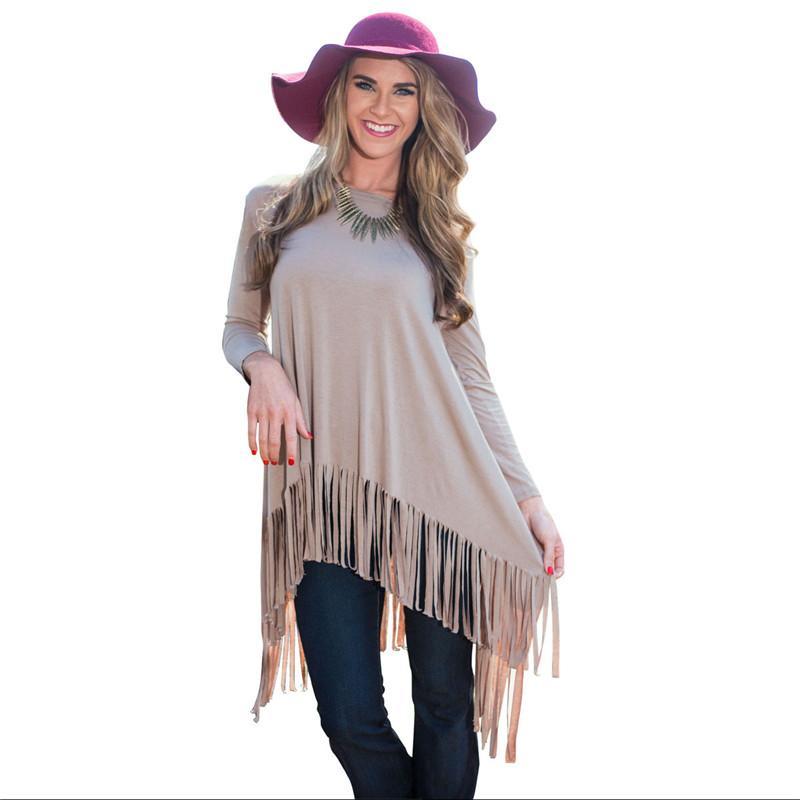 Hot Sale 2016 Women Fashion Dresses Ladies Solid Loose Long Sleeved Dress Big Swing Tassel