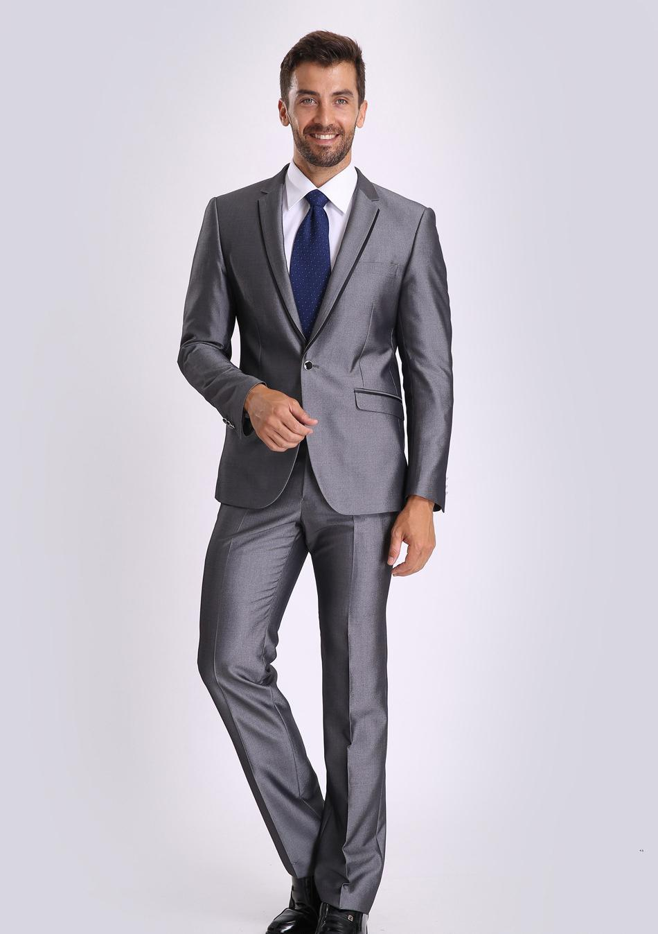 new design back vent grey groom tuxedos slim fit business suit new design back vent grey groom tuxedos slim fit business suit professional interview suit jacket pants tie 437