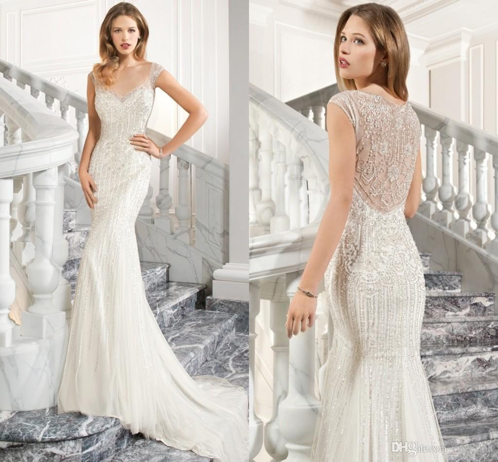 Old hollywood inspired wedding dresses sheer v neck corset for Old hollywood wedding dress