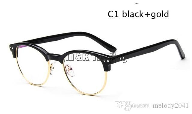 free shipment vintage metal eyeglass frames fashion half glasses frames with clear lens rivet decoration designer eyeglass frames cheap eyeglass frame