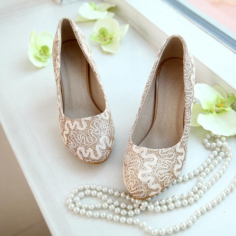 Vintage Gold Red Wedding Shoes Low Heel 4 Cm Bridal Shoes Party Prom Women Lady Shoes Size 4 8