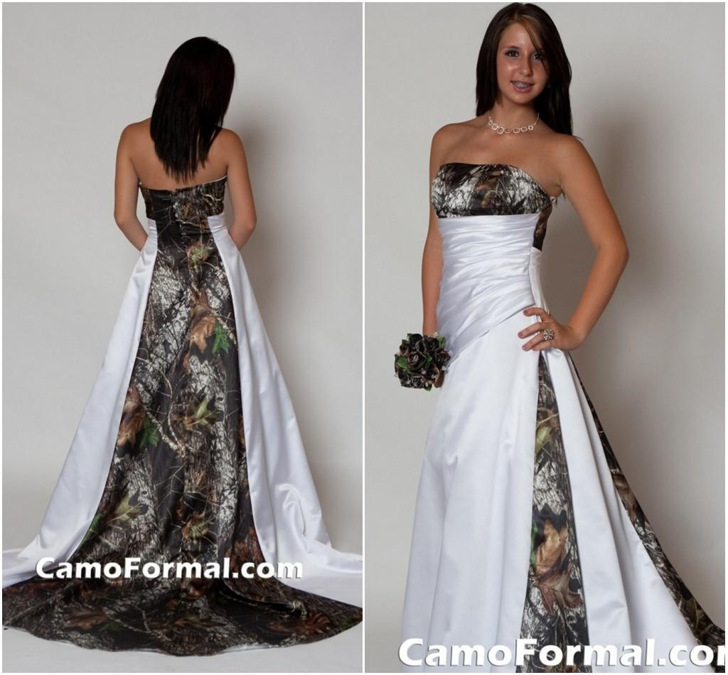 Camo Wedding Dresses: 2015 Strapless Camo Wedding Dress With Pleats Empire Waist