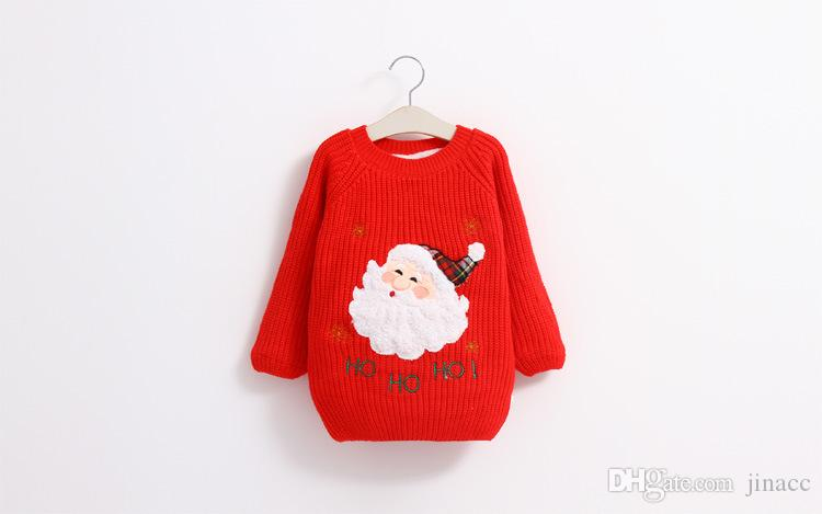 Knitting Patterns For Children s Christmas Jumpers : 2016 Kids Girls Christmas Santa Claus Knit Sweaters Babies Girl Fall Winter C...