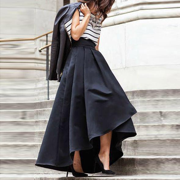 Best Women Black Fashion Casual A Line Flare Maxi Skirt 2016 ...