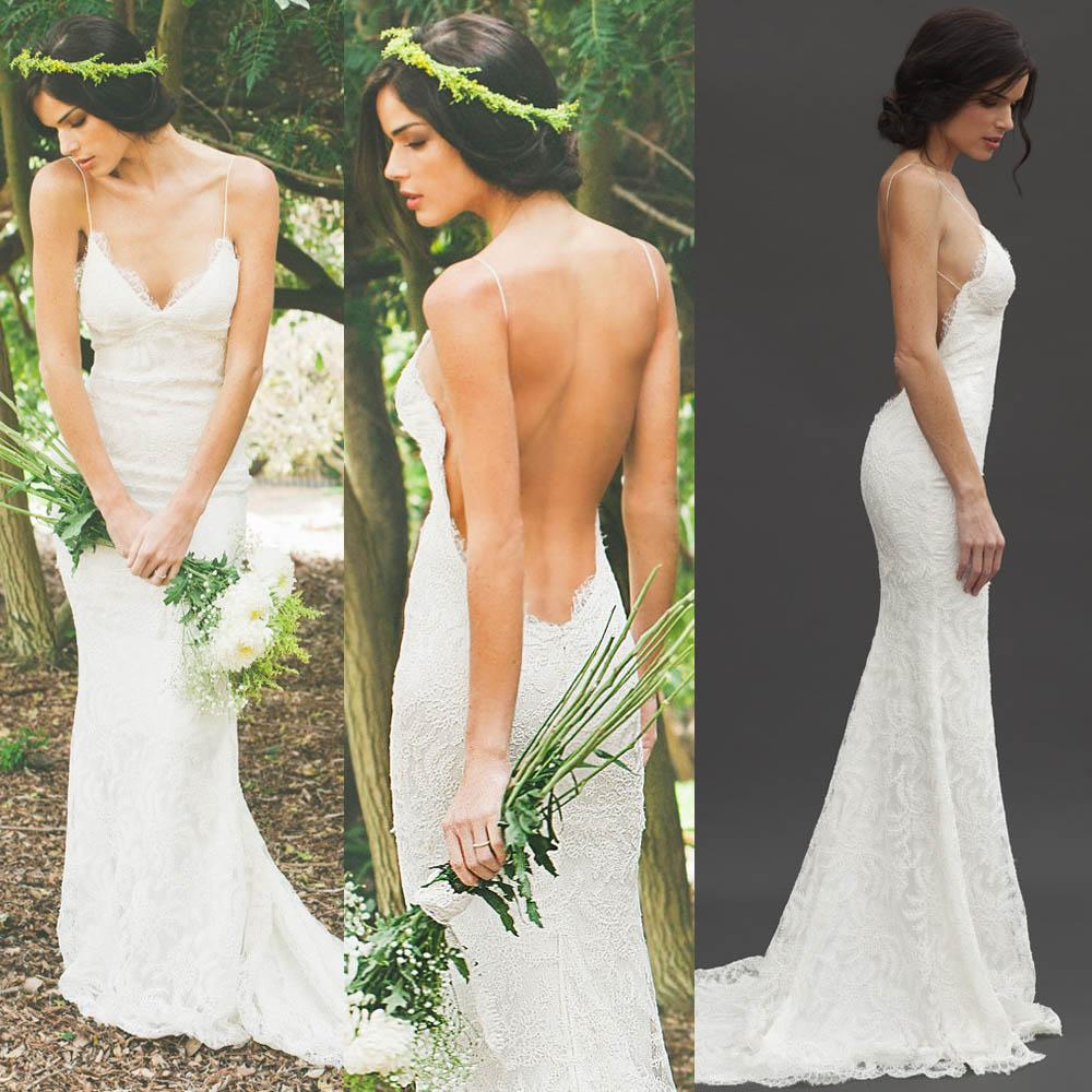 Wedding Katie May Wedding Dress katie may new 2015 sexy backless wedding dresses lace spaghetti sheath garden beach sheer summer bridal party gowns cheap d