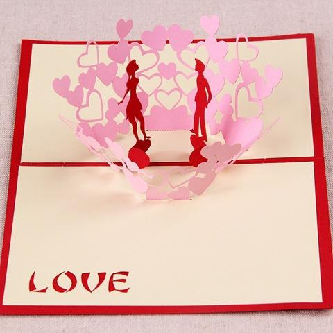 Diy Valentine Day Happy Gift Cards Love Heart Tree 3d Handmade – Handmade Greeting Cards for Valentine Day