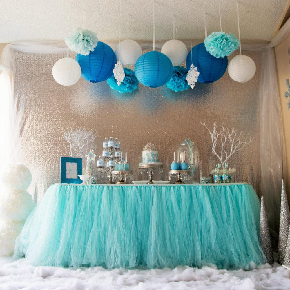 2018 Aqua Blue Tutu Table Skirt Custom Made Wedding