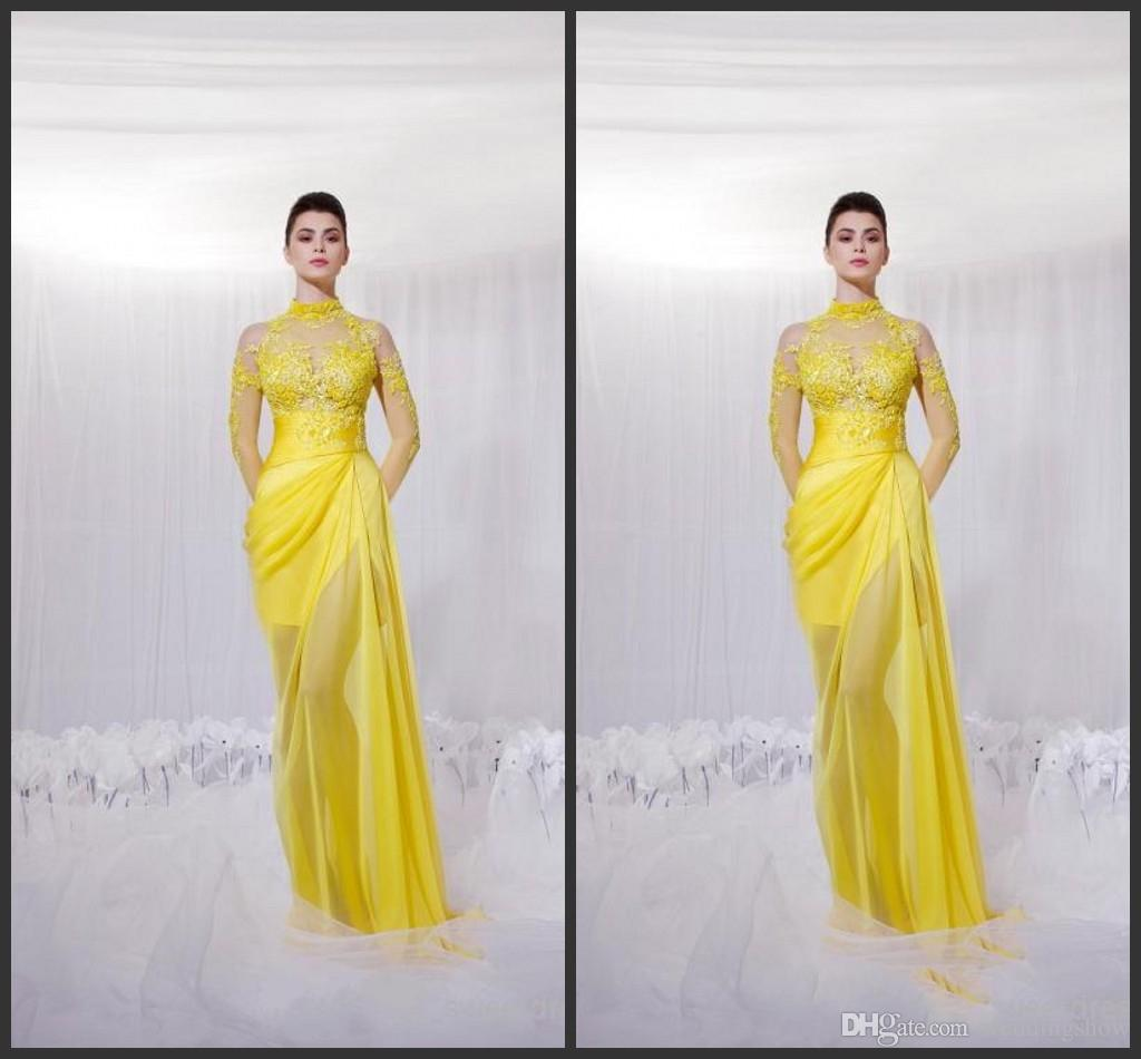 2015 Beach Wedding Dresses Personalized Yellow High Neck