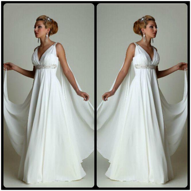 Discount Greek Style Wedding Dresses With Watteau Train 2016 Sexy V Neck Long Chiffon Grecian
