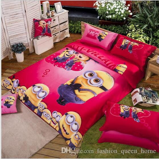 100 cotton bedding set cartoon printing minions bed for Housse pour futon