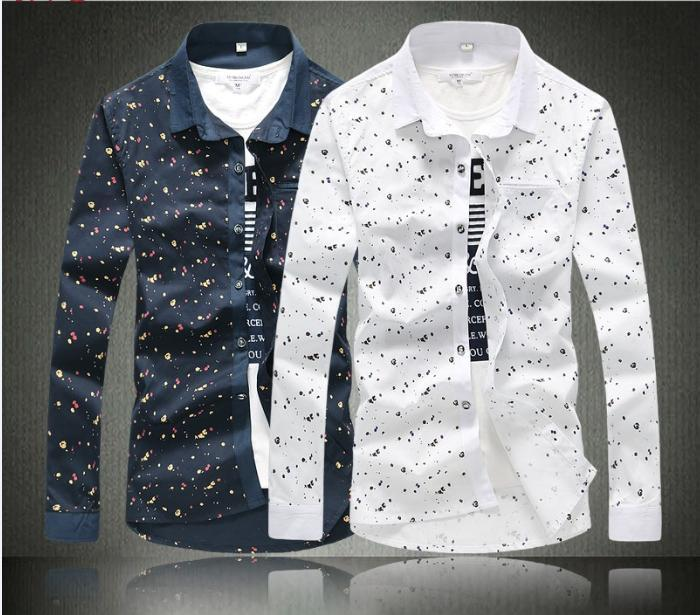 2015 M-5XL Men Casual Shirt Mens Dress Shirts Polo Floral Print ...