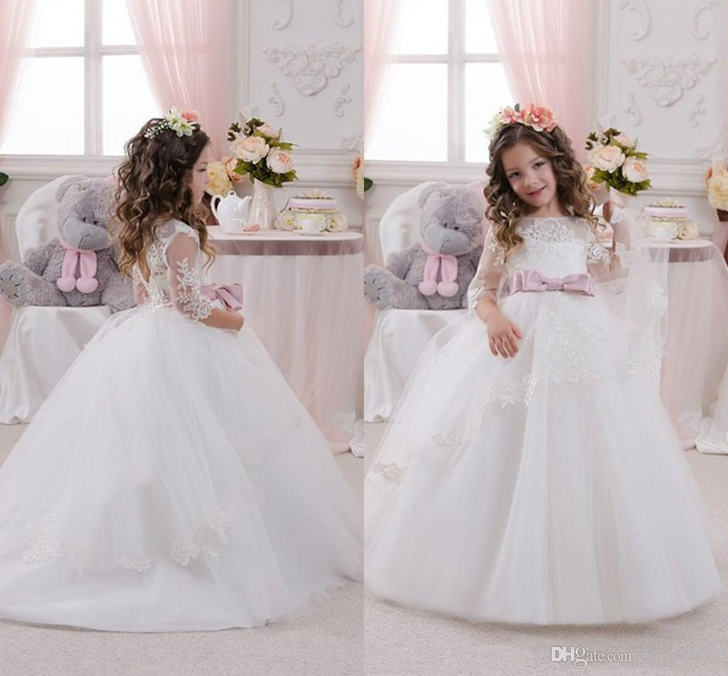 2016 Cheap Flower Girls Dresses For Wedding Ivory White Lace Jewel Neck Half