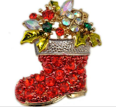 2015 New Christmas Brooches Full Diamond Christmas Boots Crystal ...