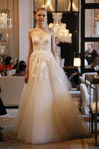 Monique Lhuillier Champagne Lace Wedding Dresses 2016 Spring Sexy ...