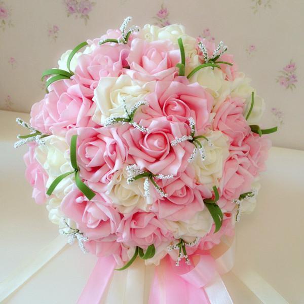 White Wedding Bouquets Online : Cm pink white rose bridal bouquet artificial cascading