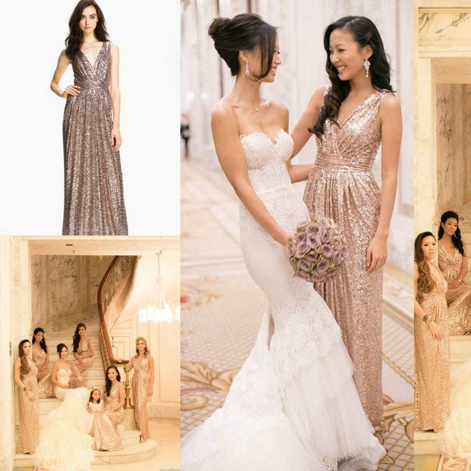 Gold Sequin Bridesmaids Dresses Rose Gold Sequined Bridesmaid