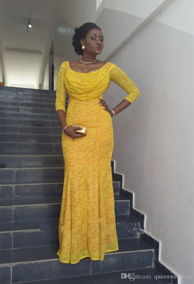 2015 Nigerian Fashion Yellow Lace Prom Dress Scoop Long