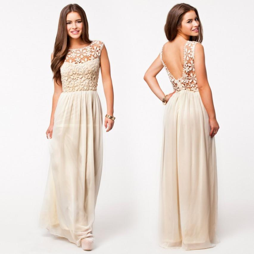 Beige/Cream Prom Dress With Sheer Lace Top A Line Chiffon Skirt ...