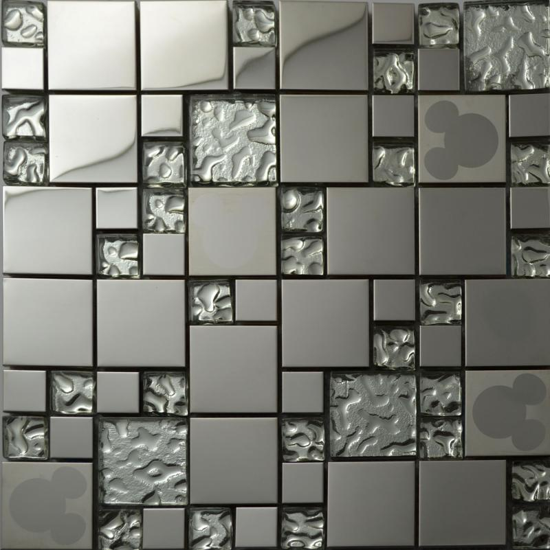 Best Quality Silver Glass Kitchen Backsplash Tile Stainless Steel Glass  Mosaic Tiles Random Mickey Mouse Pattern Bathroom Mirror Walls Tile At  Cheap Price, ...