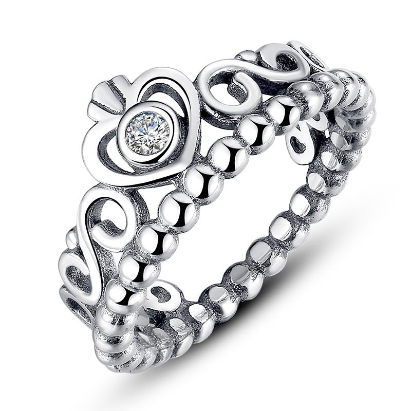 My Princess, Pandora Style Crown Silver Rings with Clear Cubic Zirconia  Engagement Wedding Rings for Her R010 Engagement Rings Silver Rings Pandora  Rings ...