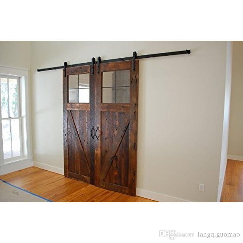 2017 12ft new double wood sliding barn door hardware for 12 foot sliding barn door hardware