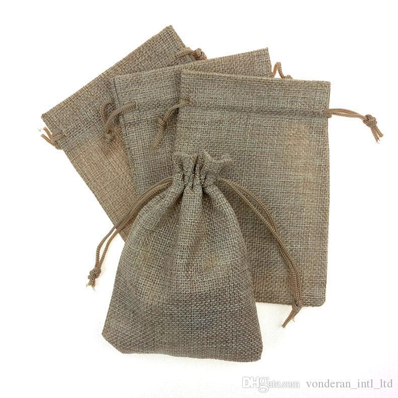 2017 10*14cm 13*18cm Linen Original Fabric Drawstring Bag Candy ...