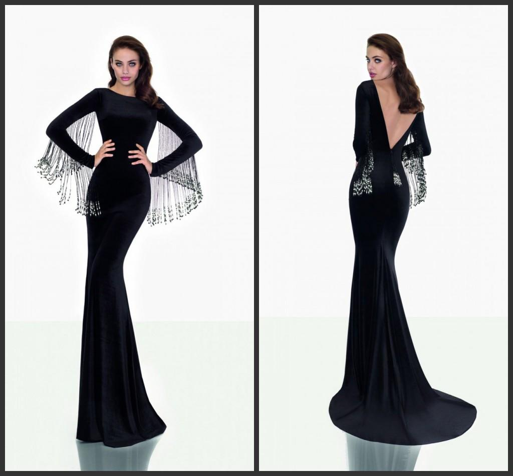 Tarik Ediz Long Sleeves Black Evening Gowns Formal Dresses