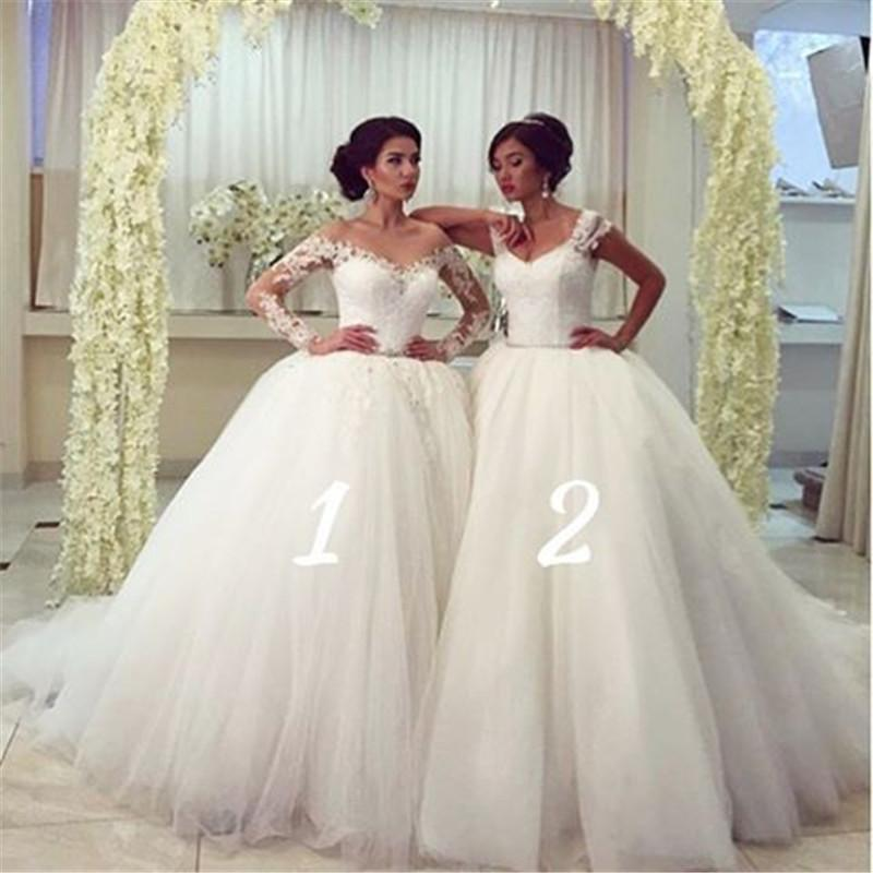 2016 Full Lace Girlfriends Wedding Dresses Ball Gown Different Styles Puffy White Ivory Tulle