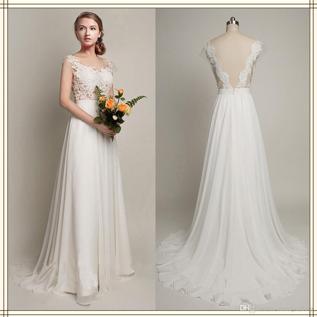 y Sheer Lace Corset Beach Wedding Dress Chiffon Court