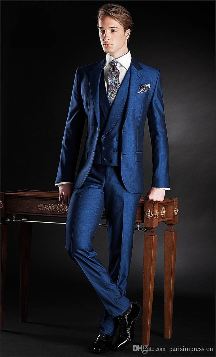 2015 Custom Navy Blue Grooms Wedding Suits For Men Tuxedos Notched ...