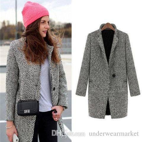 Women Winter Coat Female Wool Outerwear Grey Navy Plus Size ...