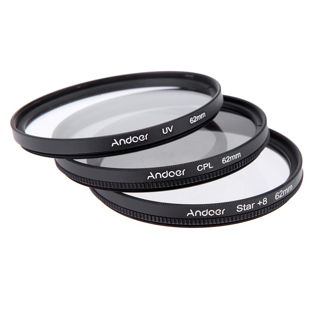 wholesale andoer 62mm filter set uv filter cpl filter star 8 point filter kit with case for. Black Bedroom Furniture Sets. Home Design Ideas