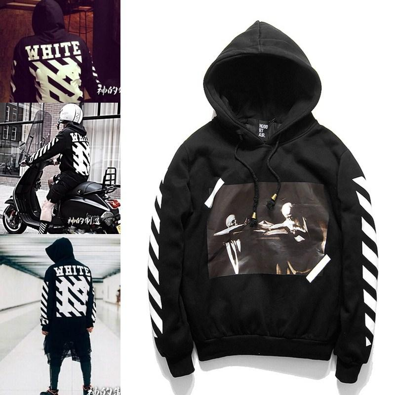2016 OFF WHITE 13 mens pullover stripe offset print hoodies fleece Sweatshirts brand HBA Vision religion painting VIRGIL ABLOH