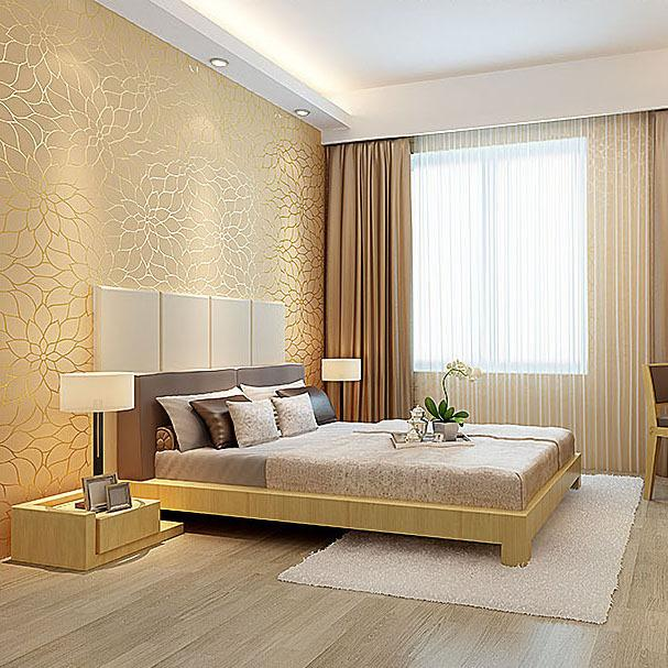 Modern Luxury Home Decor 3d Non Woven Striped Wallpaper Gold White Embossed Elegant Lotus Flower Background