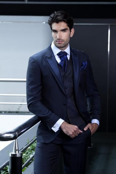 2015 Navy Blue Wedding Suits for Men Tuxedos Mens Suits Slim Fit