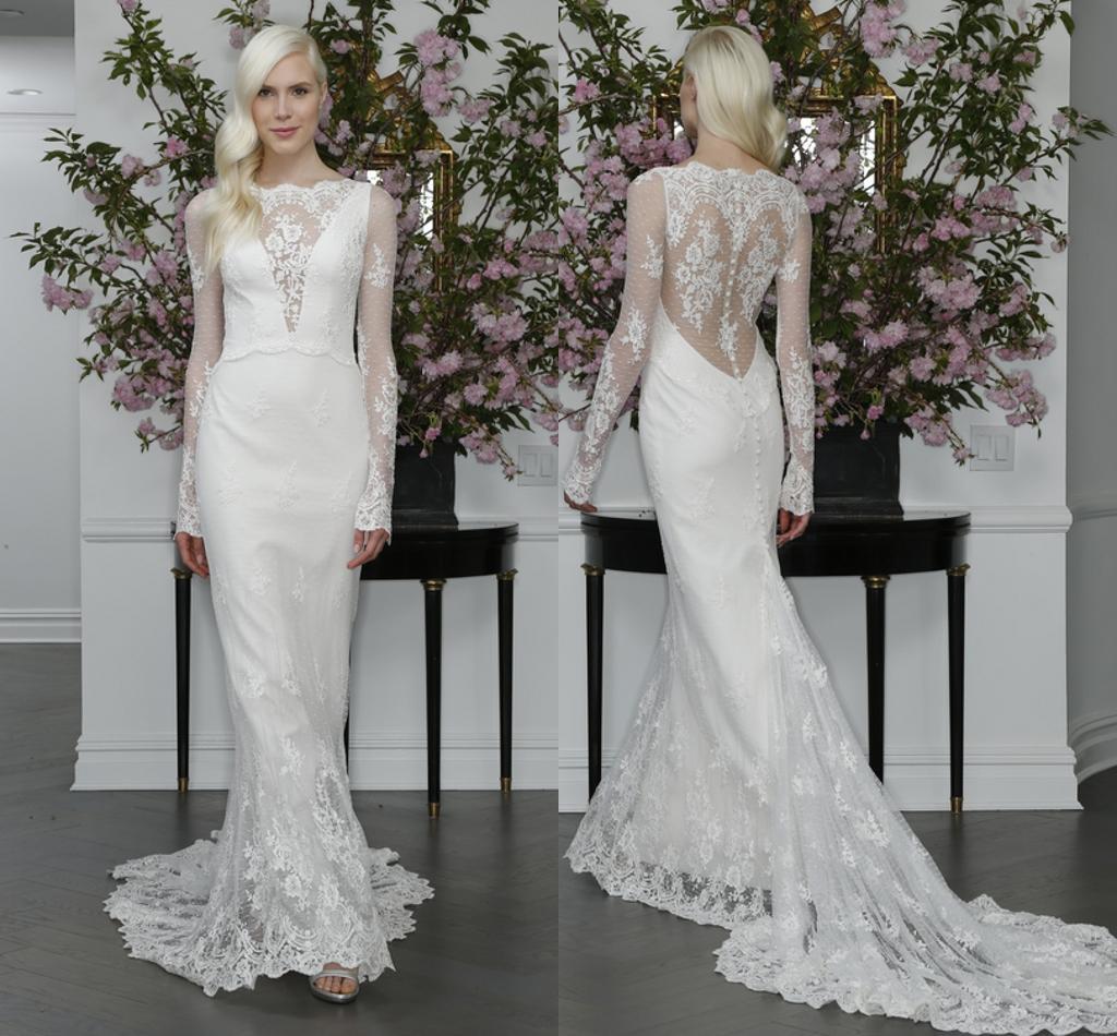 2016 Elegant Lace Mermaid Wedding Dresses Long Sleeves