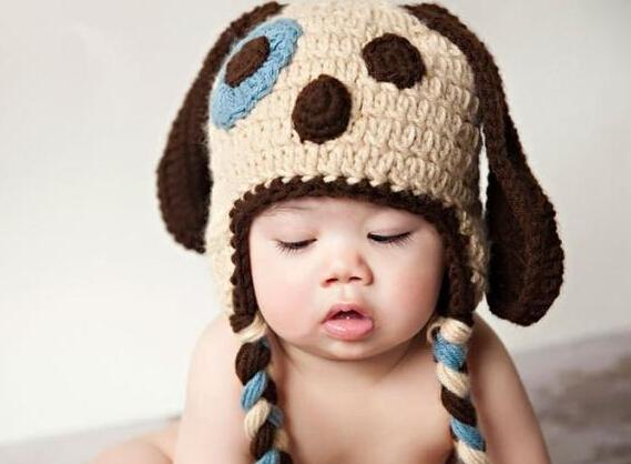 Knitting Patterns For Baby Animal Hats : 2017 Crochet Puppy Dog Pattern Knitted Hat Newborn Infant Toddler Cartoon Ani...