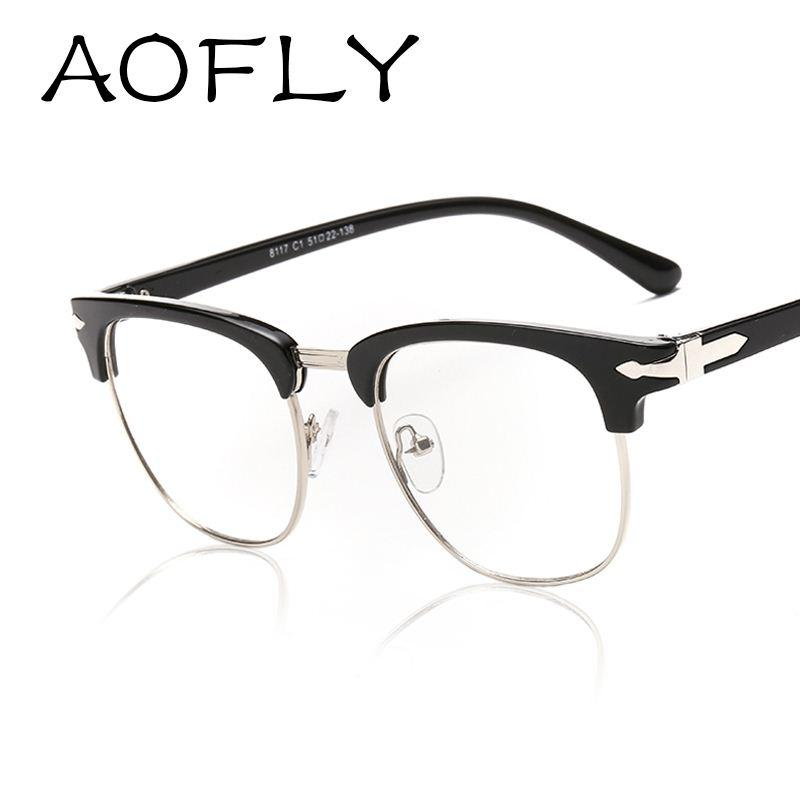 aofly fashion frame glasses cheap eyeglass frames plain computer eye glasses oval lens elegane style oculos
