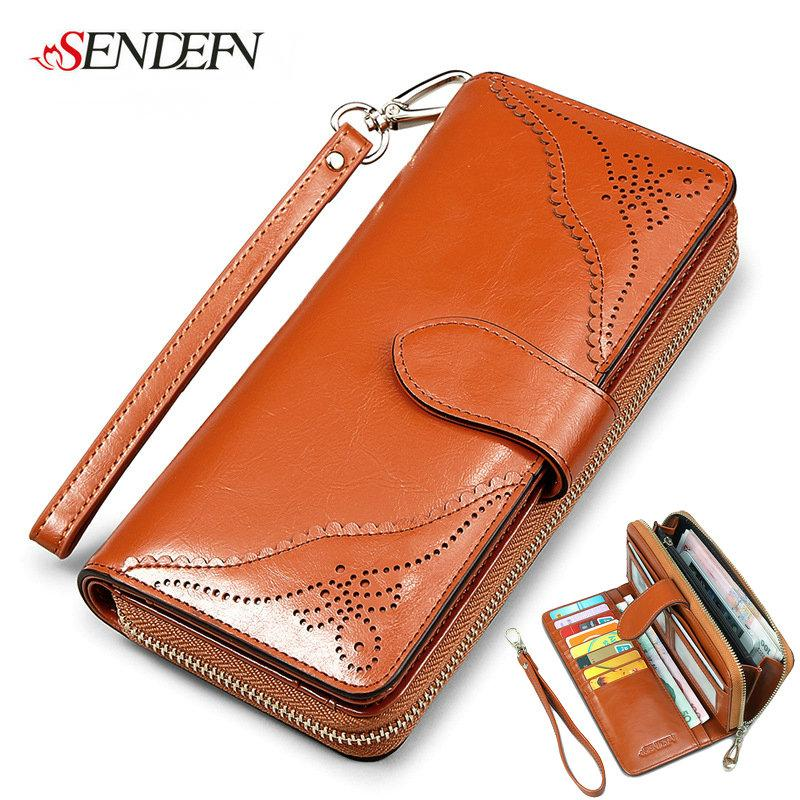2016 New Arrival Baroque Oil Wax Cowhide Women Wallet Purse High Quality Zipper Real Leather Famous Brand Large Capacity Long Wallet 8 color