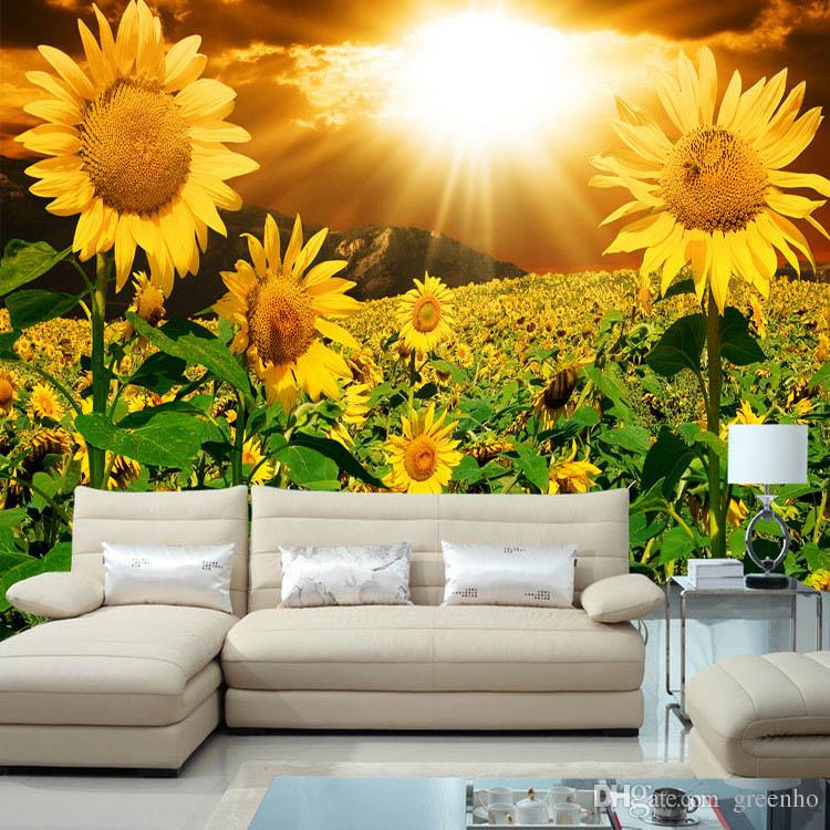 Beautiful sunflower photo wallpaper natural beauty wall for Beautiful wallpaper home decor