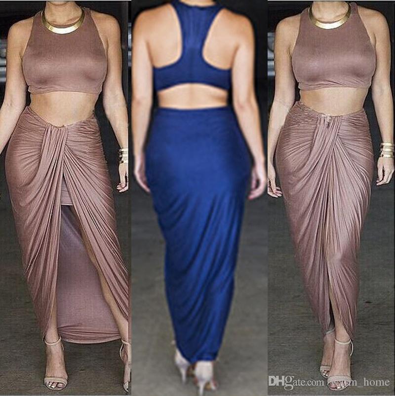 2017 Khaki / Blue Fashion Celebrity Sexy Bandage Maxi Sun Dress ...