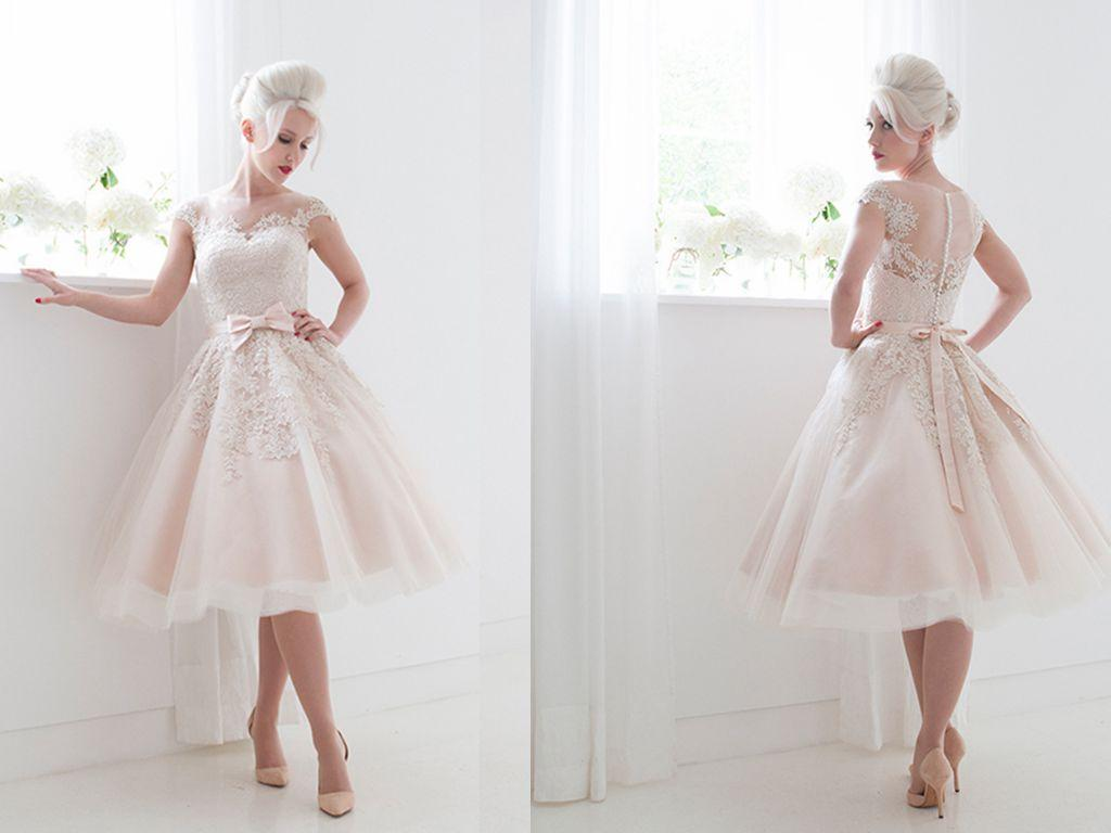 Discount 2015 Vintage Beach Wedding Dresses Short Tulle