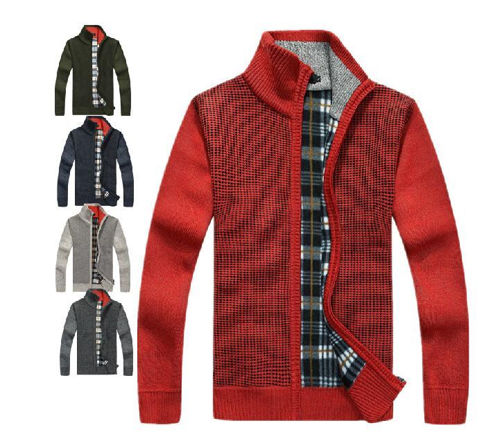 Warm Dicke Samt Kaschmir Pullover Herren Winter Cardigan Reißverschluss Tops stehen Collar Man Casual Kleidung Muster Strickwaren Pullover