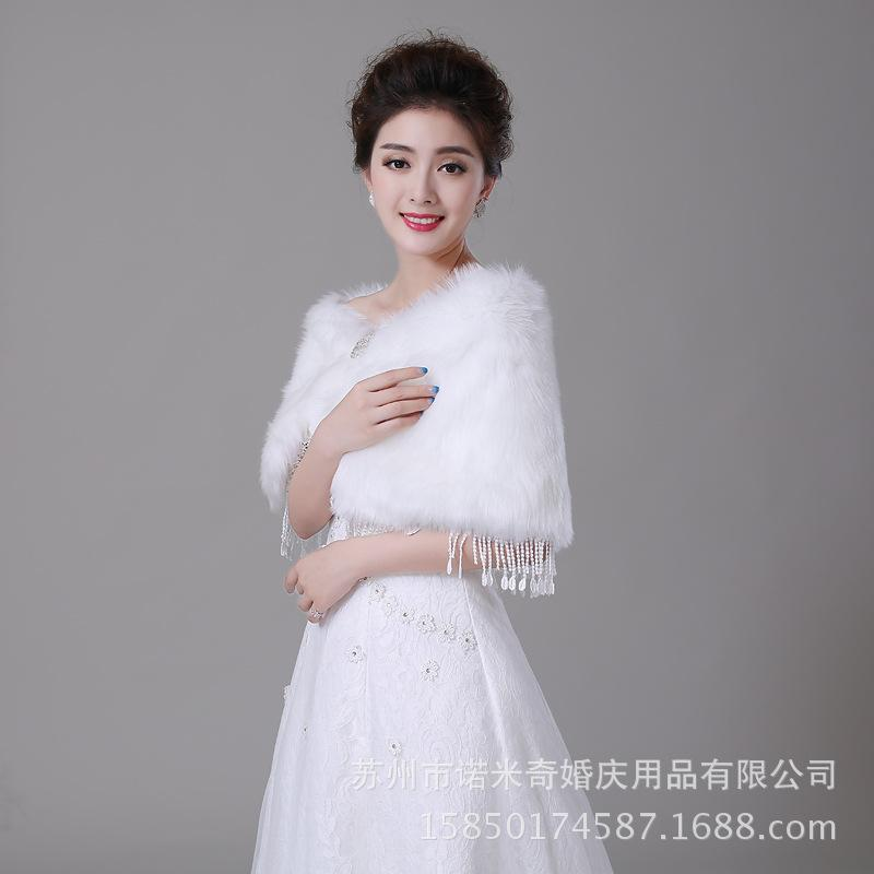 Best winter bridal shawl wraps imitation rabbit hair coat for Winter shawls for wedding dresses