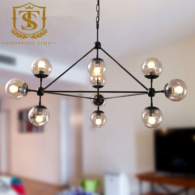 Ikea Style Glass Ball Pendant Lamp Loft Industrial Iron 10 Hanging